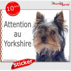 """Yorkshire Terrier, Panneau sticker autocollant """"Attention au Chien"""", Photo York pancarte plaque adhésif affiche"""