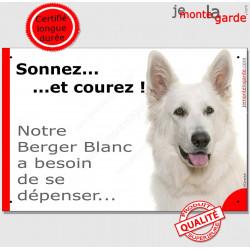 """Berger Blanc, plaque humour """"Sonnez et Courez !"""" 24 cm"""
