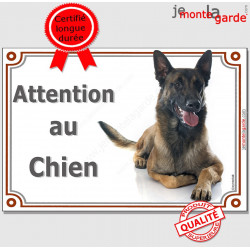 "Berger Belge Malinois couché, pancarte portail ""Attention au Chien"", panneau photo race, plaque affiche"