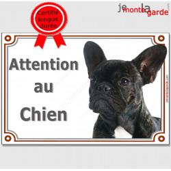 Bouledogue Français Bringé Tête, Plaque portail Attention au chien !  panneau affiche pancarte photo