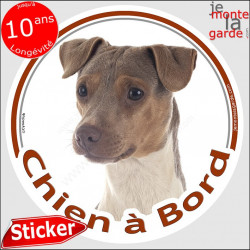 """Terrier Brésilien tricolore, sticker autocollant rond """"Chien à Bord"""" adhésif voiture photo"""