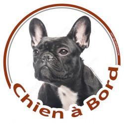 """Sticker rond """"Chien à Bord"""" 15 cm, Bouledogue Français Bringé Noir Tête"""