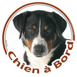 """Sticker autocollant rond """"Chien à Bord"""" 15 cm, Bouvier Suisse d'Appenzell Tête, adhésif vitre voiture Bulldog auto"""