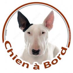 "Bull Terrier blanc, sticker rond ""Chien à Bord"" 15 cm"