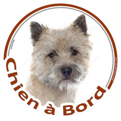 """Sticker autocollant rond """"Chien à Bord"""" 15 cm, Cairn Terrier Tête, adhésif vitre voiture"""