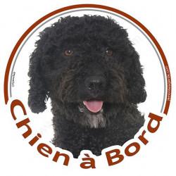 """Sticker autocollant rond """"Chien à Bord"""" 15 cm, Chien d'Eau Espagnol noir Tête, adhésif vitre voiture Turc"""