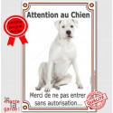 """Dogue Argentin, plaque """"Attention au Chien"""" 24 cm VLC"""