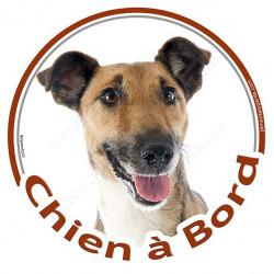 """Sticker autocollant rond """"Chien à Bord"""" 15 cm, Fox-Terrier à poils lisses Tête, adhésif vitre voiture marron"""