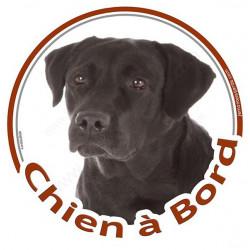 """Labrador noir, sticker autocollant rond """"Chien à Bord"""" adhésif photo vitre voiture"""