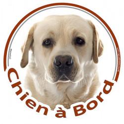 """Sticker autocollant rond """"Chien à Bord"""" 15 cm, Labrador sable beige jaune Tête, adhésif vitre voiture"""