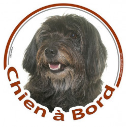 """Sticker autocollant rond """"Chien à Bord"""" 15 cm, Labrit, Berger des Pyrénées noir Tête, adhésif vitre voiture"""