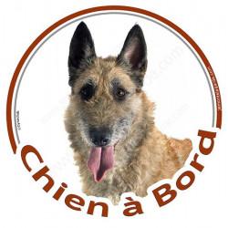 """Sticker autocollant rond """"Chien à Bord"""" 15 cm, Berger Belge Laekenois Tête, adhésif vitre voiture"""