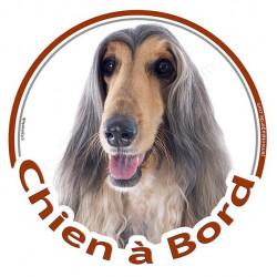 """Sticker rond """"Chien à Bord"""" 15 cm, Lévrier Afghan tricolore Tête, autocollant 3 couleurs"""
