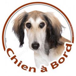 """Sticker rond """"Chien à Bord"""" 15 cm, Lévrier Saluki Tête"""