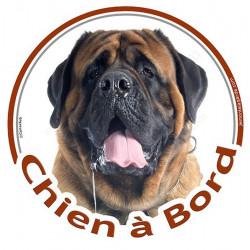 """Sticker rond """"Chien à Bord"""" 15 cm, Mastiff Tête"""