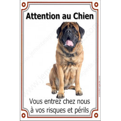 Plaque 24 cm LUXE Attention au Chien, Mastiff Assis