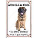 Plaque 24 cm LUXE Attention au Chien, Mastiff Assis