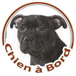 """Sticker autocollant rond """"Chien à Bord"""" 15 cm, Staffie noir Tête, adhésif vitre voiture staffy"""
