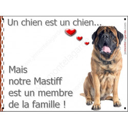 Plaque 16 cm LOVE Membre de la Famille, Mastiff Assis
