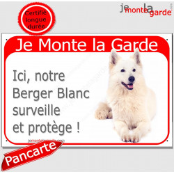 "Berger Blanc, plaque rouge ""Je Monte la Garde"" 24 cm RED"