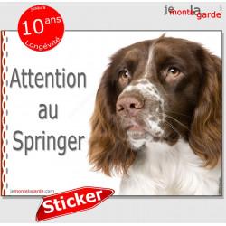 """English Springer, sticker autocollant voiture """"Attention au Chien"""", adhésif photo vitre voiture"""