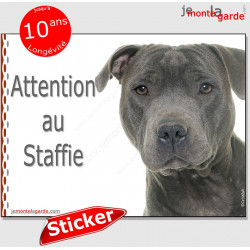 "Staffie bleu, autocollant ""Attention au Chien"" 16 x 12 cm"