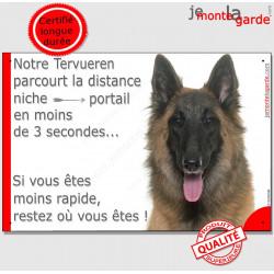"""Tervueren Tête, plaque """"parcourt distance Niche - Portail"""" 24 cm"""