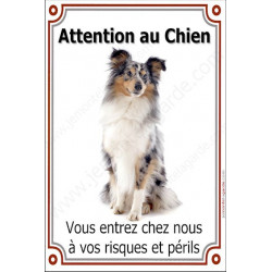 Plaque 24 cm LUXE Attention au Chien, Shetland Merle Assis