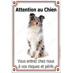 """Shetland Merle Assis, plaque portail """"Attention au Chien"""" 24 cm LUXE"""
