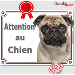 """Carlin fauve Tête, Plaque portail """"Attention au Chien"""" panneau affiche pancarte photo carlin beige sable crème"""