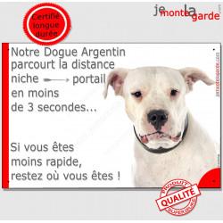 """Dogue Argentin, plaque """"distance Niche - Portail"""" 24 cm 3SEC"""