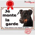 """Dobermann Tête, plaque """"Je Monte la Garde"""" 2 tailles LUX B"""