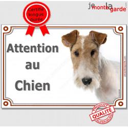 """Fox Terrier blanc et fauve poils durs Tête, plaque portail """"Attention au Chien"""" pancarte panneau affiche photo race"""