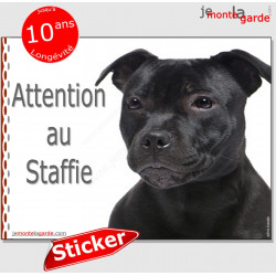 "Staffie noir, autocollant ""Attention au Chien"" 16 x 12 cm"
