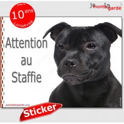"""Staffie tout noir, autocollant """"Attention au Chien"""" 16 cm"""