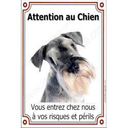 Plaque 24 cm LUXE Attention au Chien, Schnauzer Poivre et Sel Tête