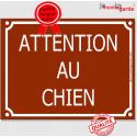 """Plaque Portail """"Attention au Chien"""" Rue Marron Chocolat 4 tailles CLR A"""