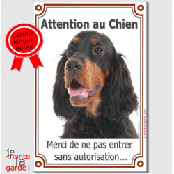 "Setter Gordon, plaque verticale ""Attention au Chien"" 24 cm VL A"
