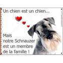 Plaque 16 cm LOVE Membre de la Famille, Schnauzer Poivre et Sel Tête