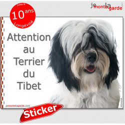 """Terrier du Tibet noir et blanc, panneau autocollant """"Attention au Chien"""" Sichers adhésif photo race pancarte plaque affiche"""