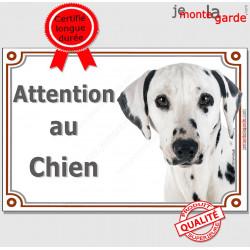 """Dalmatien Tête, plaque """"Attention au Chien"""" 2 tailles LUXE A"""