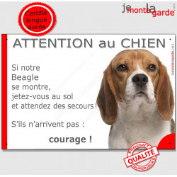 """Beagle, plaque humour """"Attention au Chien, Jetez Vous au Sol"""" 24 cm JET"""
