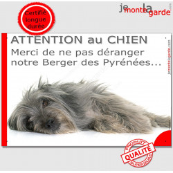 """Plaque portail humour """"Attention au Chien, Merci de ne pas déranger notre Berger des Pyrénées gris"""" Labrit bleu photo pancarte h"""