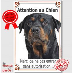"Rottweiler Tête, plaque verticale ""Attention au Chien"" 24 cm VL-A"