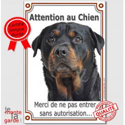 """Rottweiler Tête, plaque verticale """"Attention au Chien""""  24 cm VL-A"""