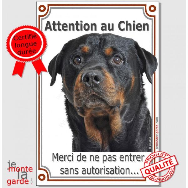 """Rottweiler Tête, Plaque Portail """"Attention au Chien verticale, interdit sans autorisation"""" pancarte panneau Rotweiler photo"""