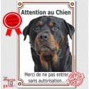 """Rottweiler, plaque verticale """"Attention au Chien"""" 24 cm VLC"""