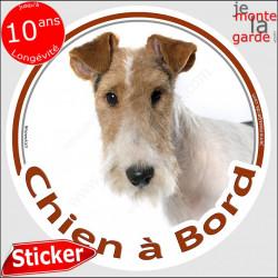 """Fox-Terrier à poils durs Tête, sticker autocollant rond """"Chien à Bord"""" adhésif vitre voiture marron photo"""