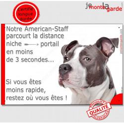 Am-Staff Tête, Plaque Portail distance niche-portail 3 secondes, affiche panneau drôle pancarte staff gris attention au chien