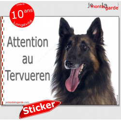 "Berger Belge Tervueren, autocollant ""Attention au Chien"" Sticker adhésif photo race Tervuren"